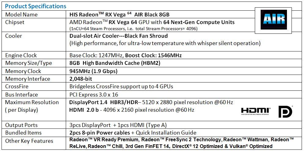 HIS Radeon RX Vega 64 AIR Black 8GB < Radeon RX Vega 64 Series