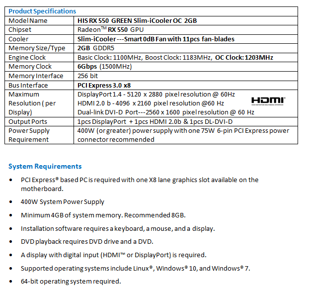 HIS RX 550 GREEN Slim-iCooler OC 2GB < RX 550 Series