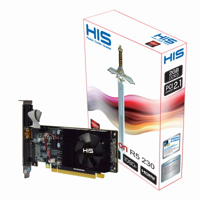 HIS R5 230 Fan 2GB DDR3 PCI-E DVI/HDMI/VGA < R5 230 Series < Desktop