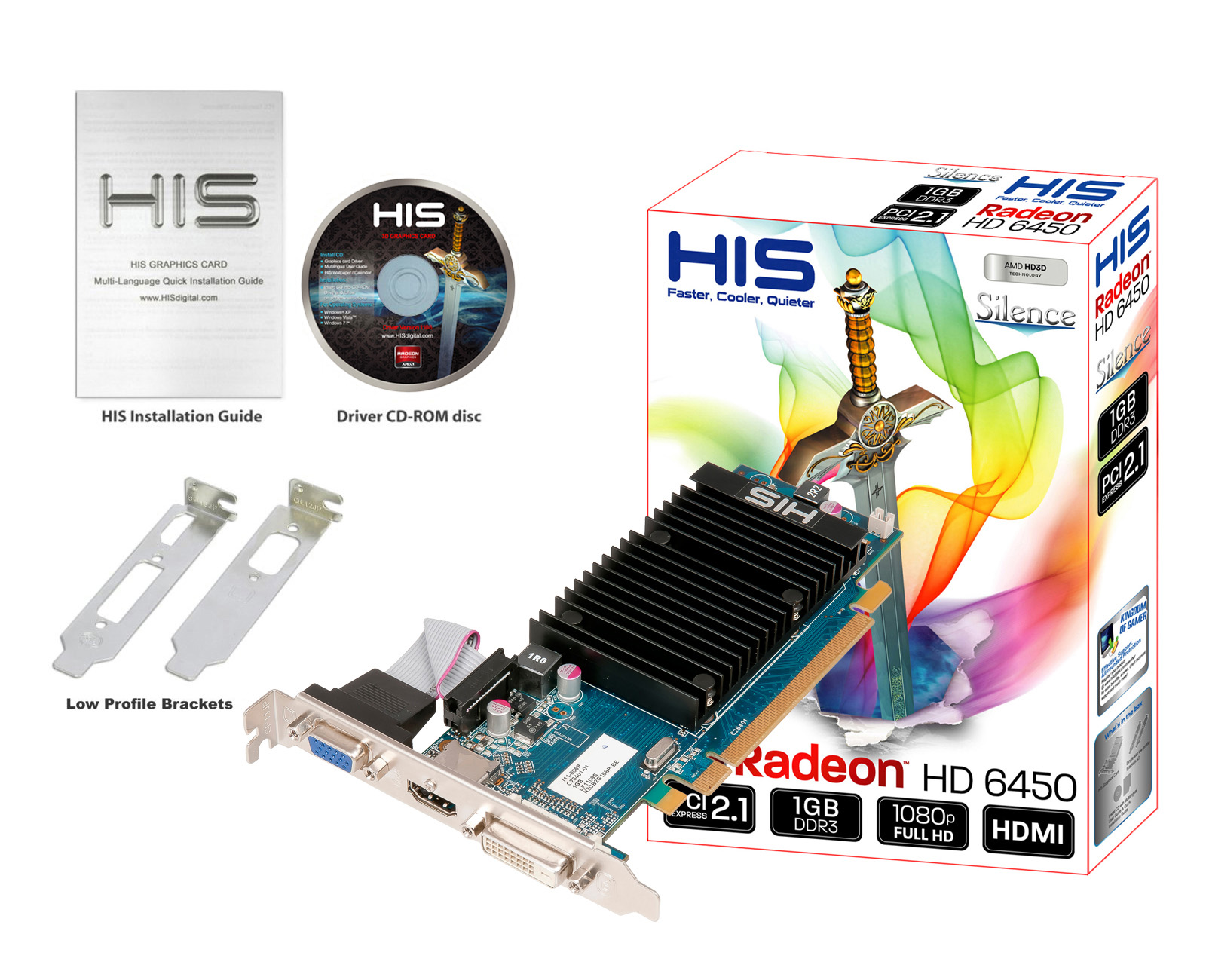 His 6450 Silence 1gb Ddr3 Pci E Dvi Hdmi Vga Hd 6400 Series Desktop Graphics Products His Graphic Cards