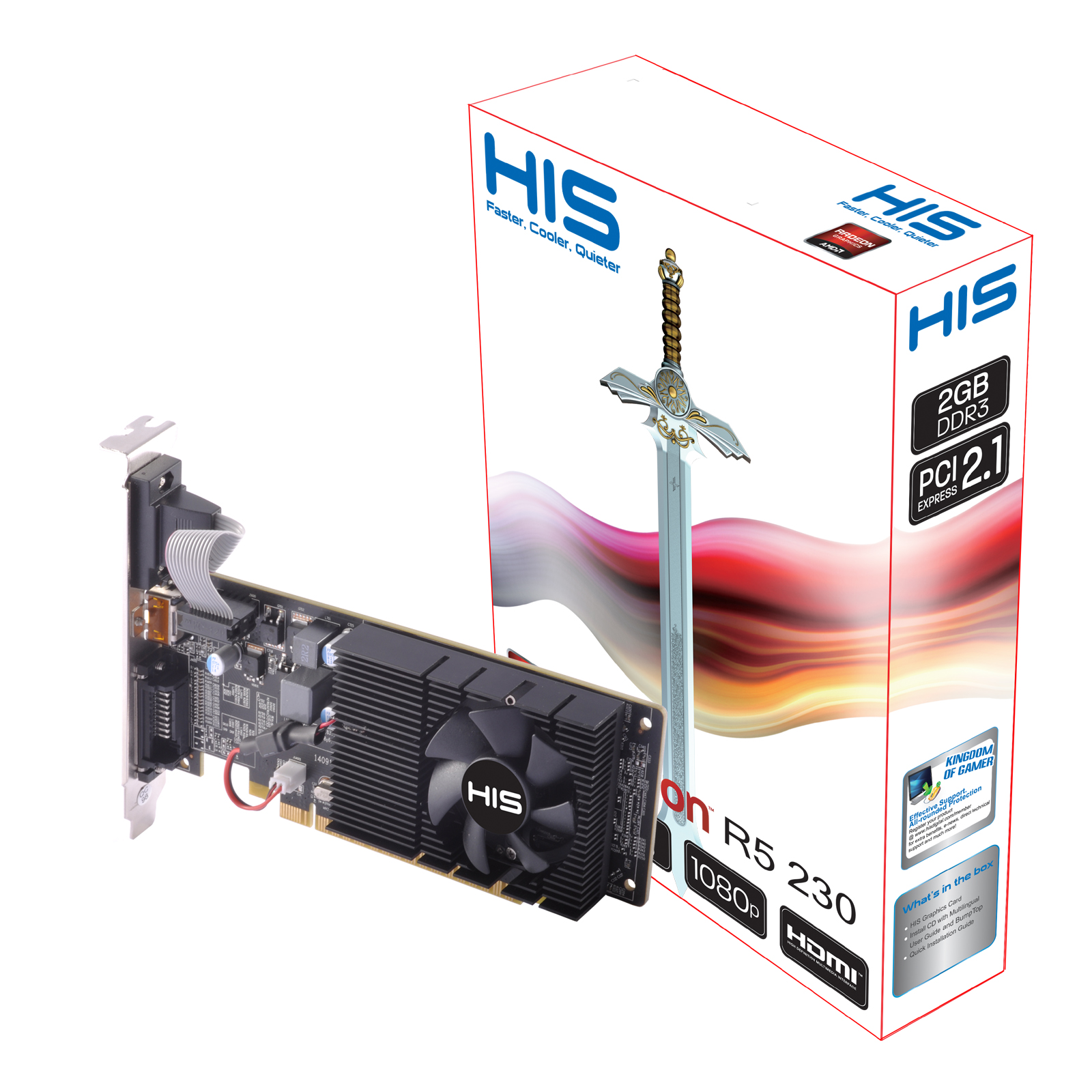 HIS R5 230 Fan 2GB DDR3 PCI-E DVI/HDMI/VGA < R5 230 Series