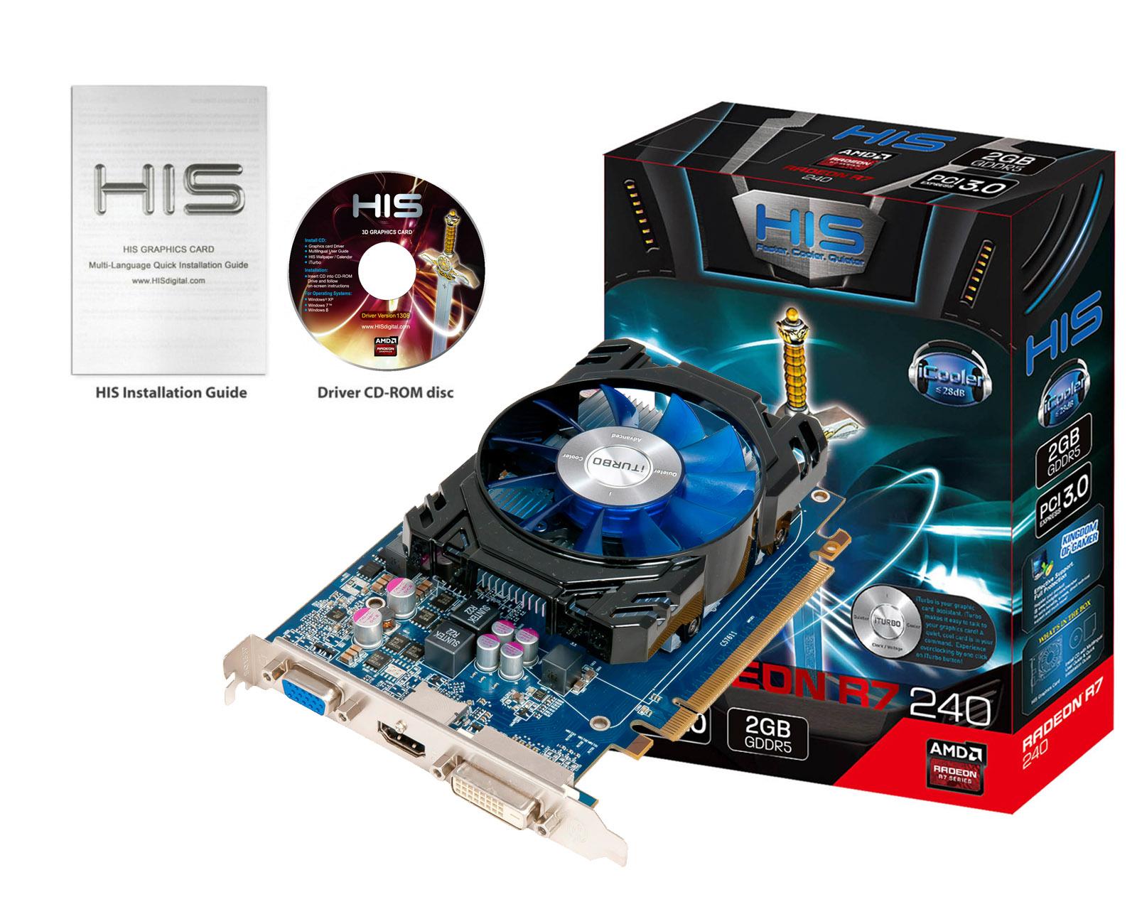 HIS R7 240 iCooler 2GB GDDR5 PCI-E HDMI/SLDVI-D/VGA < R7 240