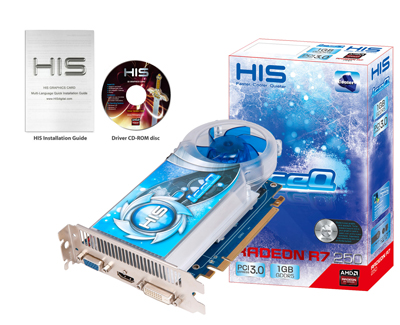 HIS R7 250 IceQ Boost Clock 1GB GDDR5 PCI-E HDMI/SLDVI-D/VGA < R7