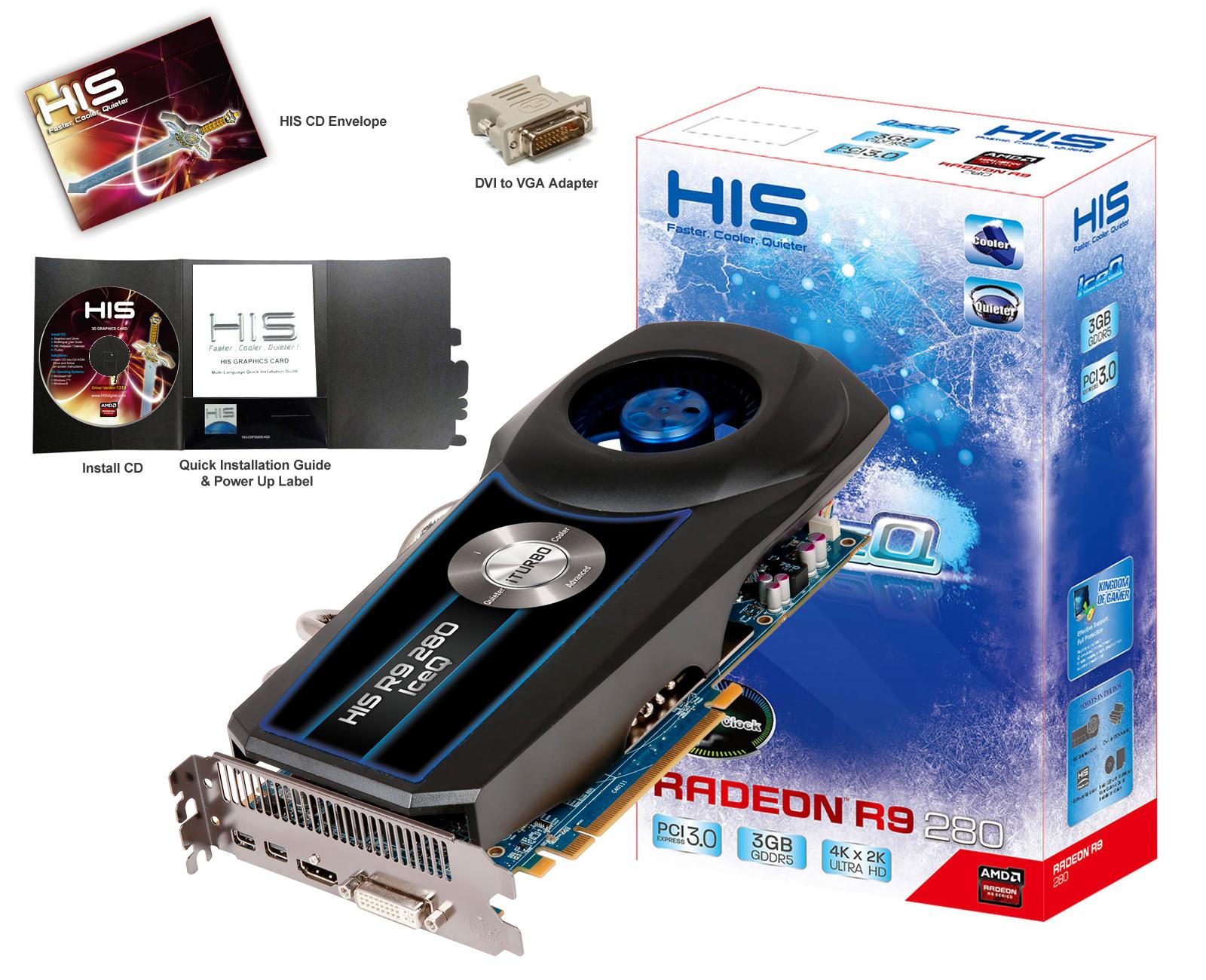 HIS R9 280 IceQ OC 3GB GDDR5 PCI-E DLDVI-I/HDMI/2xMini DP