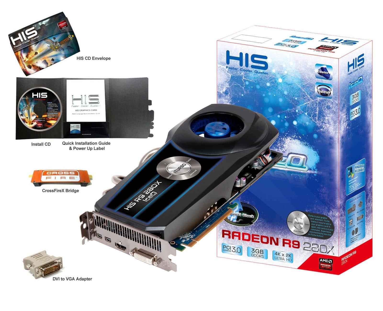 HIS R9 280X IceQ Boost Clock 3GB GDDR5 PCI-E DLDVI-I/HDMI