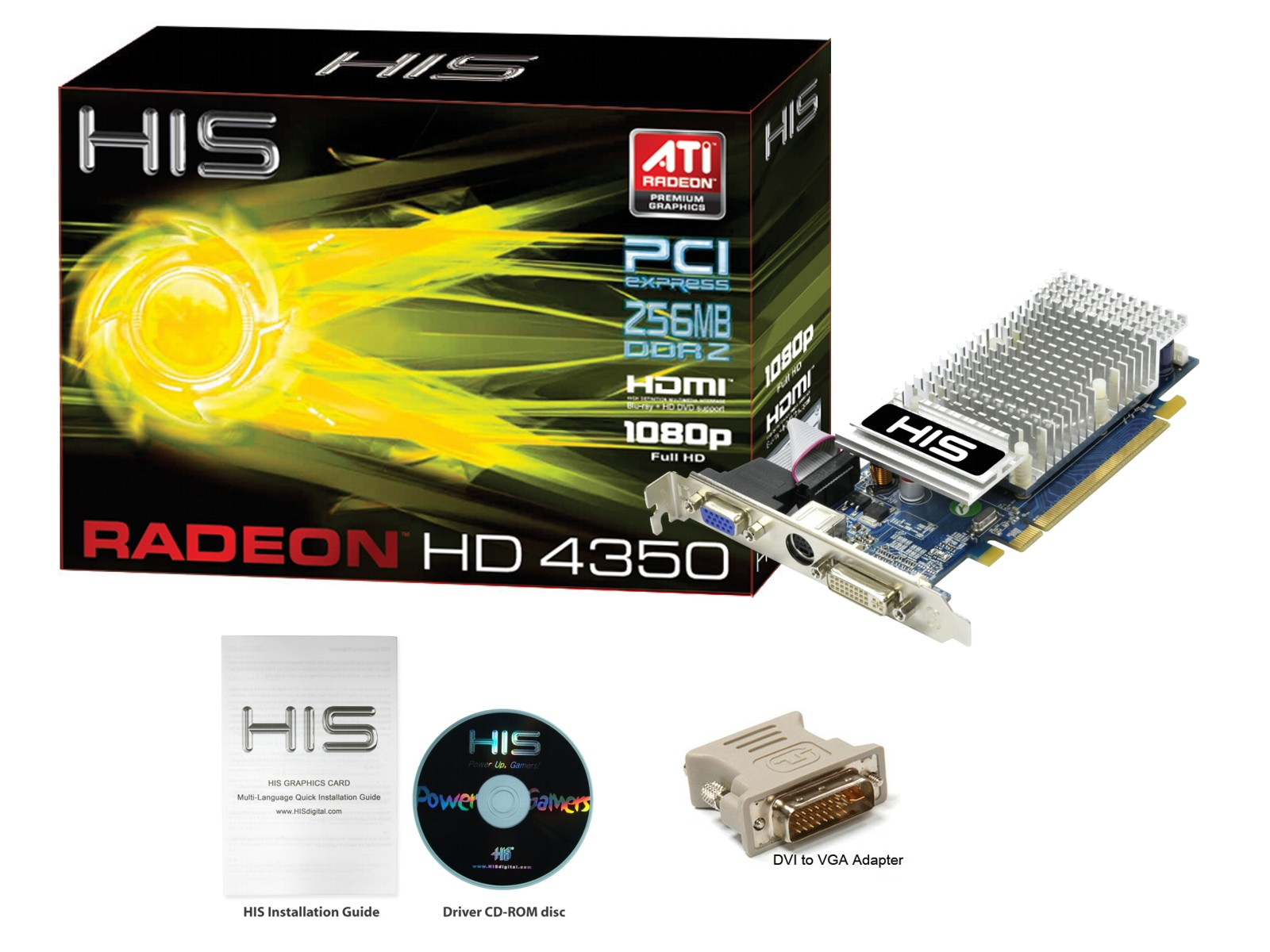 DDR3 AGP 8x Video Graphics Card 64 bit HIS Radeon HD 4350 HDMI 512MB
