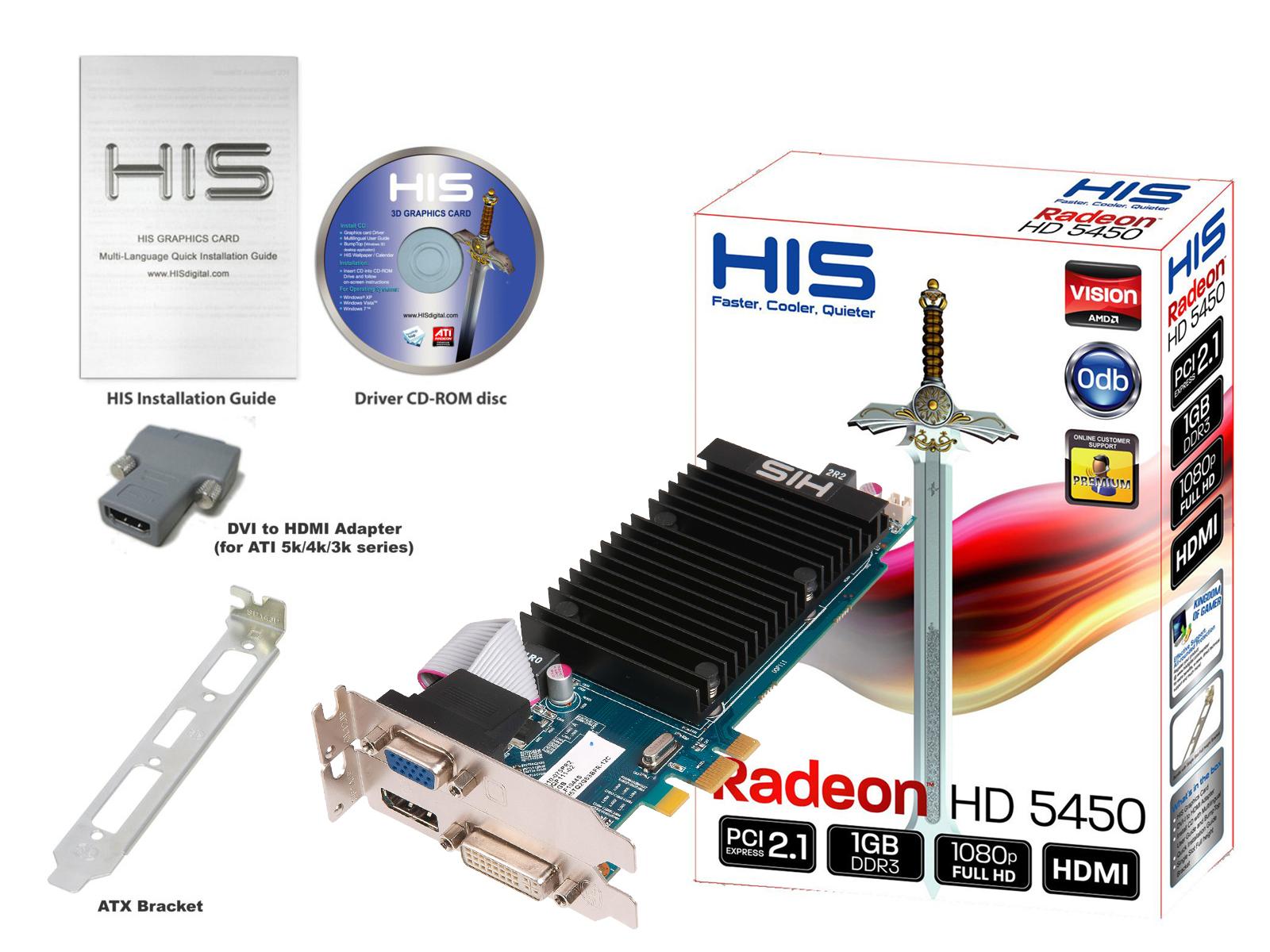 HIS 5450 Silence 1GB DDR3 PCI-E DP/DVI/VGA Low Profile < HD 5400