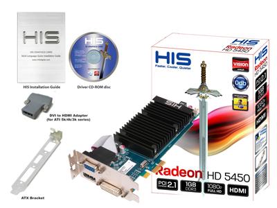 HIS 5450 Silence 1GB DDR3 PCI-E DP/DVI/VGA Low Profile