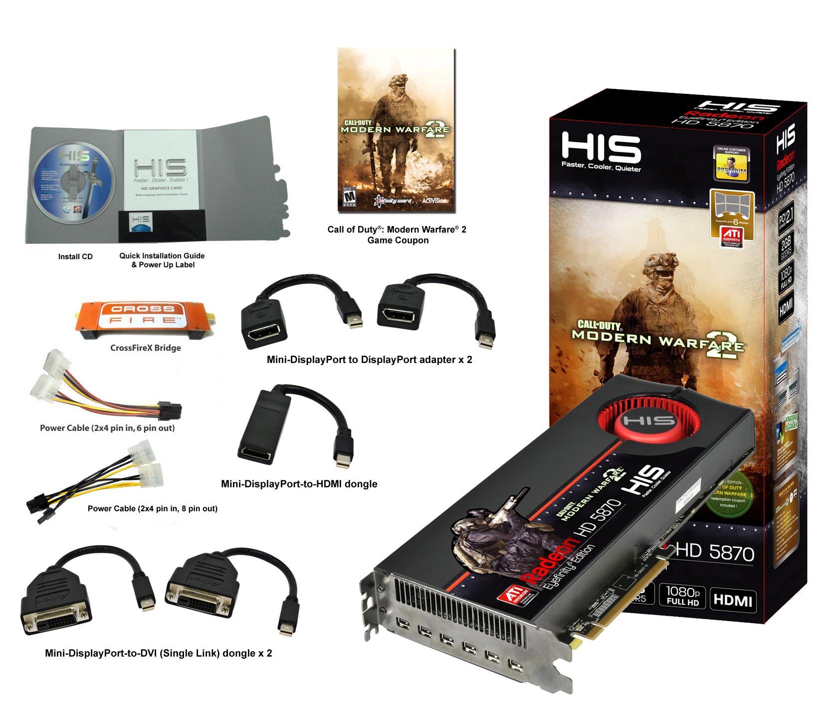 HIS HD 5870 (DirectX 11/ Eyefinity/ Full HD 1080p) 2GB