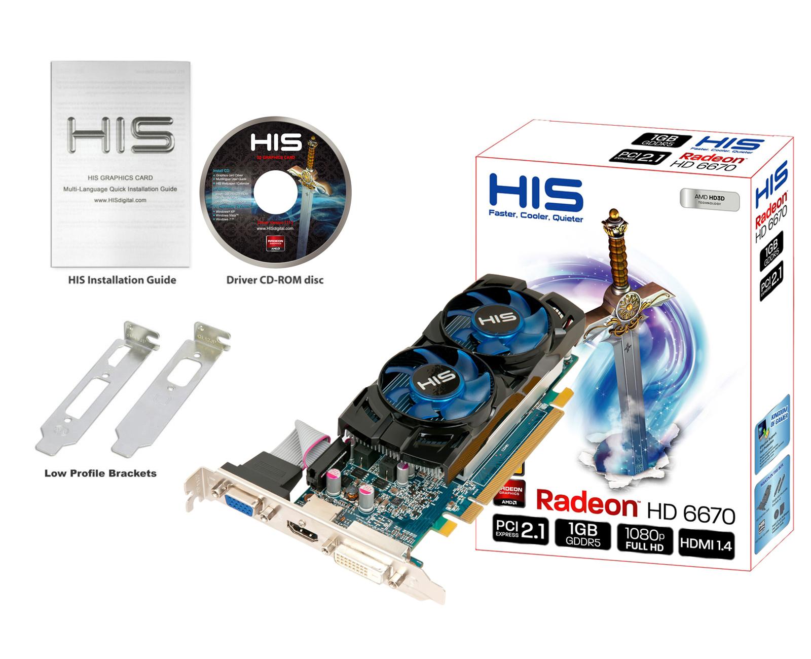HIS 6670 Dual Fan 1GB GDDR5 PCI-E DVI/HDMI/VGA