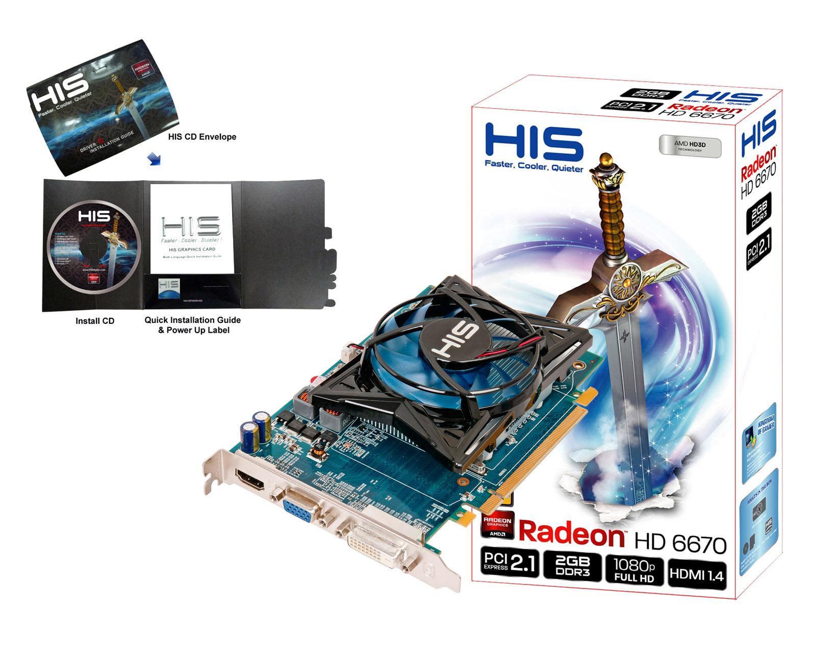 HIS 6670 Fan 2GB DDR3 PCI-E DVI/HDMI/VGA