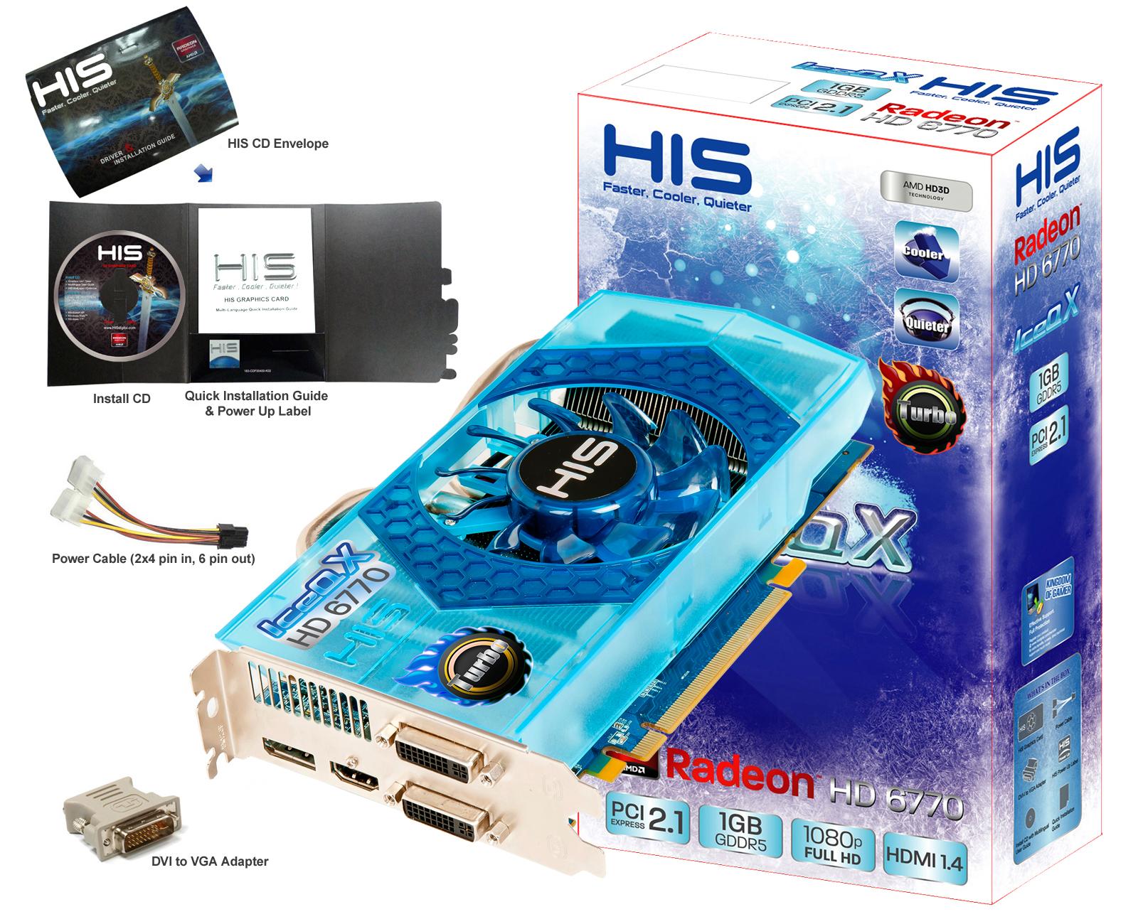 HIS 6770 IceQ X Turbo 1GB GDDR5 PCI-E DP/2xDVI/HDMI < HD 6700 Series