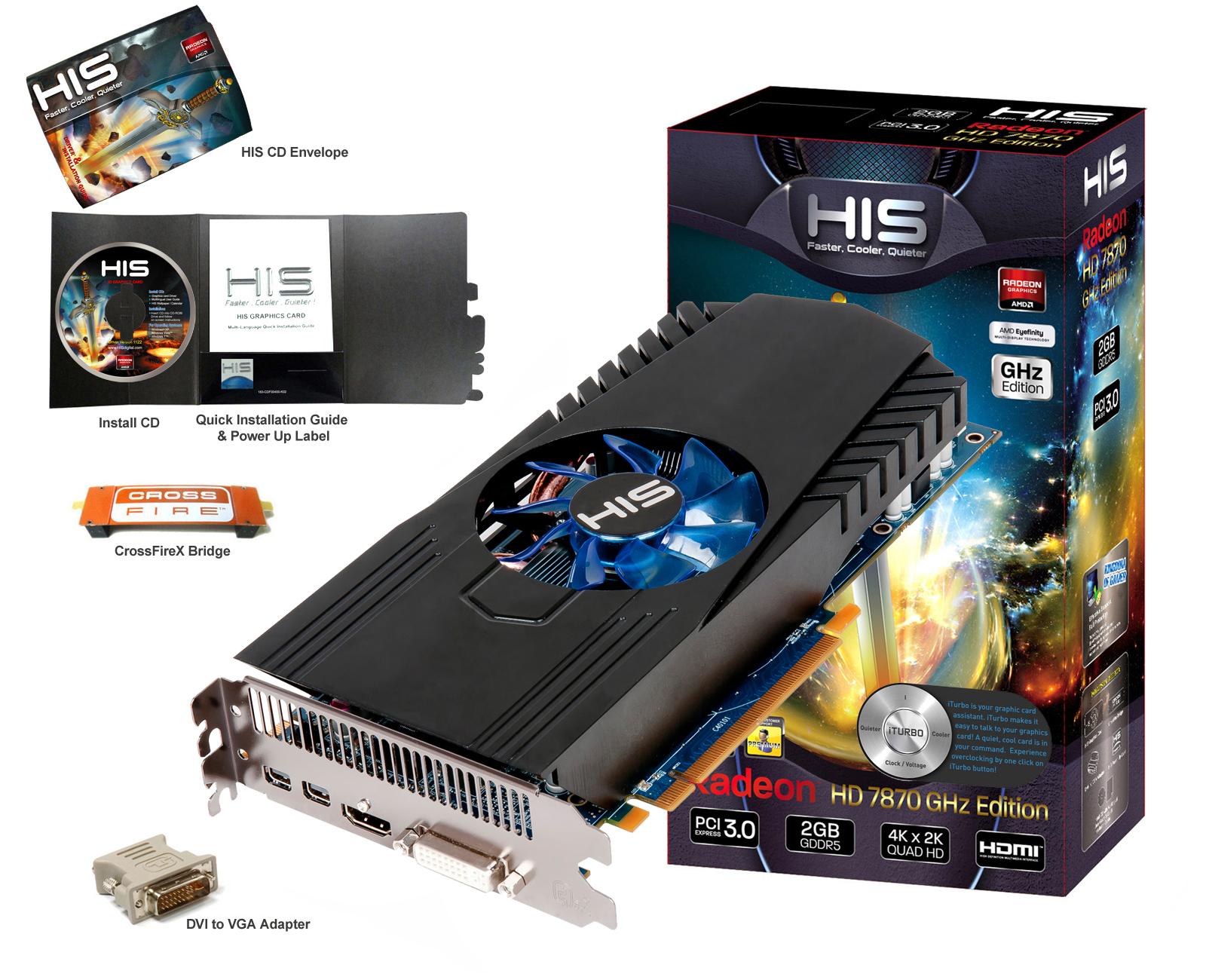 HIS 7870 Fan 2GB GDDR5 PCI E DVI HDMI 2xMini DP HD 7800 Series